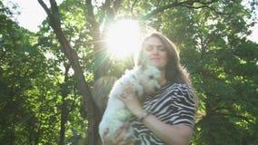 El perro casero activo de la tenencia de la mujer en brazos da vuelta bajo luz del sol Tiro del PDA metrajes
