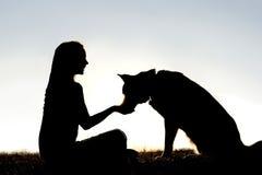 El perro casero de alimentación de la mujer trata la silueta Foto de archivo