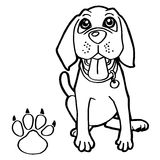 El perro con el colorante de la impresión de la pata pagina vector Imágenes de archivo libres de regalías