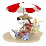 El perro 3D en una playa tiene un resto. Foto de archivo
