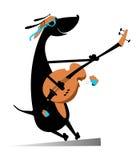 El perro está tocando la guitarra Imágenes de archivo libres de regalías