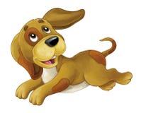 El perro feliz de la historieta es de salto y que parece - estilo artístico - aislado libre illustration