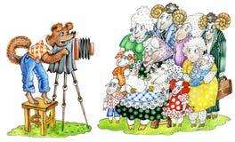 el Perro-fotógrafo toma un cuadro del `s fa de las ovejas stock de ilustración