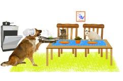 El perro grande es pescado de la porción a dos gatos Foto de archivo