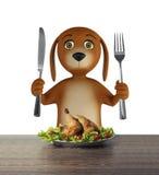 El perro hambriento de la historieta con el cuenco sostiene un cuchillo y una bifurcación Aislado en el fondo blanco 3d rinden ilustración del vector