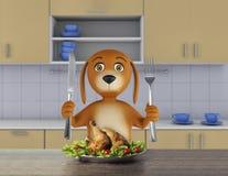 El perro hambriento de la historieta con el cuenco sostiene un cuchillo y una bifurcación 3d rinden stock de ilustración