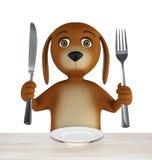El perro hambriento de la historieta con el cuenco vacío sostiene un cuchillo y una bifurcación Aislado en el fondo blanco 3d rin stock de ilustración