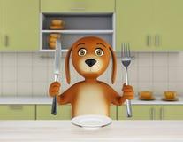 El perro hambriento de la historieta con el cuenco vacío sostiene un cuchillo y una bifurcación 3d rinden libre illustration