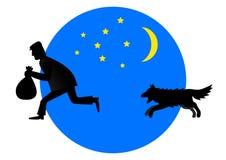 El perro persigue al ladrón stock de ilustración