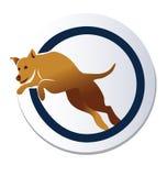 El perro que salta sobre logotipo del aro Imagen de archivo