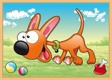 El perro se está ejecutando en prado ilustración del vector
