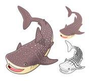 El personaje de dibujos animados de alta calidad del tiburón de ballena incluye el diseño y la línea planos Art Version Fotografía de archivo libre de regalías