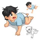 El personaje de dibujos animados de arrastre del bebé incluye diseño y la versión planos del esquema stock de ilustración