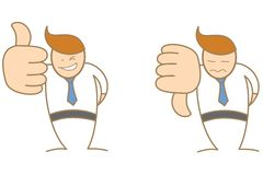 El personaje de dibujos animados manosea con los dedos encima de los pulgares abajo Fotos de archivo