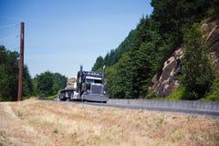 El personal azul marino del cromo del camión del aparejo grande semi lleva la madera de construcción Foto de archivo libre de regalías