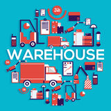 El personal de Warehouse pone los cargces, caja, paquete y los paquetes circundan concepto Ejemplo del vector del servicio de ent Fotografía de archivo