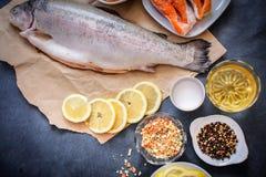 El pescado crudo del papel de Kraft con las rebanadas del limón miente en una sobremesa gris oscuro en una placa blanca Una varie imagen de archivo
