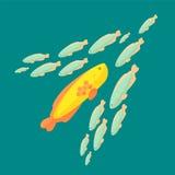 El pescado está nadando contra la corriente común de otros pescados stock de ilustración