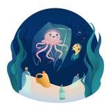 El pescado nada entre la contaminación plástica del océano Concepto de basura cero ilustración del vector