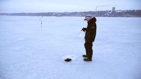 El pescador anima cebo con su caña de pescar y coge pescados en invierno metrajes