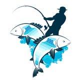 El pescador coge la silueta de los pescados ilustración del vector