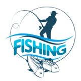 El pescador coge la silueta de los pescados libre illustration