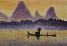 El pescador coge pescados con el cormorán stock de ilustración