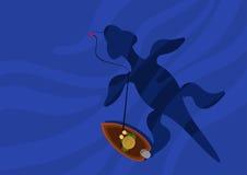 El pescador cogió una captura grande ilustración del vector