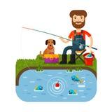 El pescador de la diversión coge pescados Caña de pescar Estilo plano de la historieta Ilustración del vector stock de ilustración
