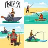 El pescador de la historieta que se coloca en sombrero y red de los tirones en el barco fuera del mar, fishman feliz sostiene la  ilustración del vector