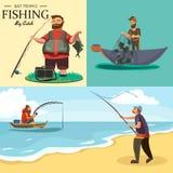 El pescador en las botas de goma lanza una caña de pescar con una línea y hecha a ganchillo en el agua para la pesca con mosca, h ilustración del vector