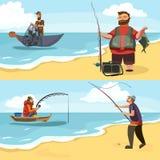 El pescador en las botas de goma lanza una caña de pescar con una línea y hecha a ganchillo en el agua para la pesca con mosca, h Fotografía de archivo libre de regalías