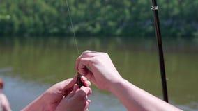 El pescador quita los pescados del gancho Paisaje hermoso del verano Reconstrucción al aire libre manía almacen de video