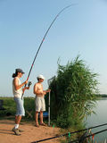 El pescar con caña Fotografía de archivo