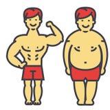 El peso perdidoso del individuo, individuo gordo, antes y después de la dieta y de la aptitud, adelgazando al hombre joven, varón Ilustración del Vector