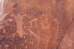 El petroglifo de la escena de la natalidad en Moab, Utah Imagen de archivo libre de regalías