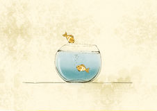El pez de colores salta en un ejemplo del bol de vidrio, mano que dibuja colores suaves Fotos de archivo libres de regalías
