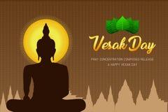 El phra Buda del monje del día del vesak de la silueta ruega el frente compuesto concentración del lanzamiento de la fe de la cul libre illustration