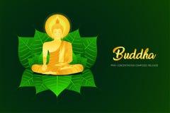 El phra Buda del monje rogar se sienta en la concentración de la hoja del pho compuso el ejemplo eps10 de la fe de la cultura de  libre illustration