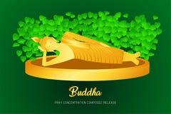 El phra de oro del monje del sueño de Buda ruega el frente compuesto concentración del lanzamiento del ejemplo de la fe de la cul stock de ilustración