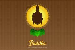 El phra del monje de Buda de la silueta ruega el frente compuesto concentración del lanzamiento del ejemplo eps10 de la fe de la  ilustración del vector