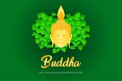 El phra del monje de Buda ruega el frente compuesto concentración del lanzamiento del ejemplo eps10 de la fe de la cultura de la  stock de ilustración