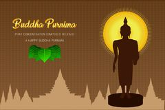 El phra del monje del purnima de Buda de la silueta ruega el frente compuesto concentración del lanzamiento de la fe de la cultur libre illustration