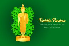 El phra del monje del purnima de Buda ruega el frente compuesto concentración del lanzamiento del ejemplo eps10 de la fe de la cu libre illustration