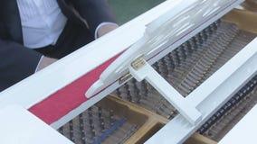 El pianista juega las secuencias del piano almacen de metraje de vídeo