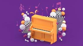 El piano anaranjado es rodeado por las notas y las bolas coloridas en el fondo púrpura ilustración del vector