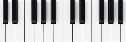 El piano blanco y negro cierra el fondo ilustración 3D Foto de archivo