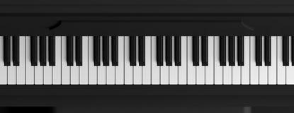 El piano cierra la visión superior, bandera ilustración 3D Imagen de archivo
