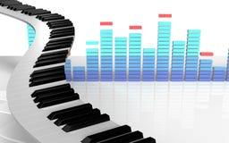 el piano 3d cierra llaves del piano Foto de archivo