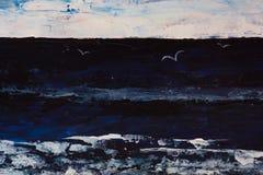 El pianting oscuro dramático mismo del mar, cielo, gaviotas en la oscuridad ilustración del vector